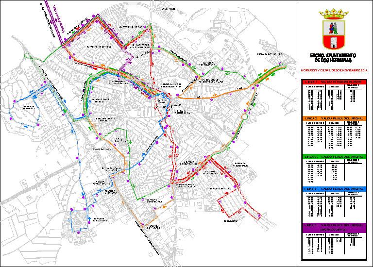 Horario de autobuses en Dos Hermanas | Líneas 1, 2, 3, 4, 5