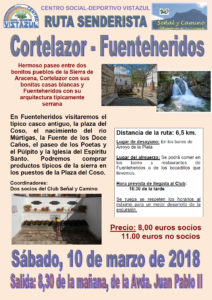 Ruta senderista Cortelazor - Fuenteheridos organizada por el CSD Vistazul