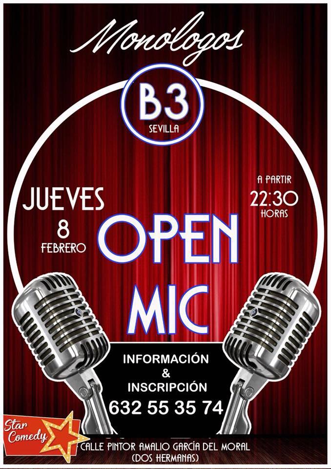 monologos b3 sevilla open mic febrero 2018