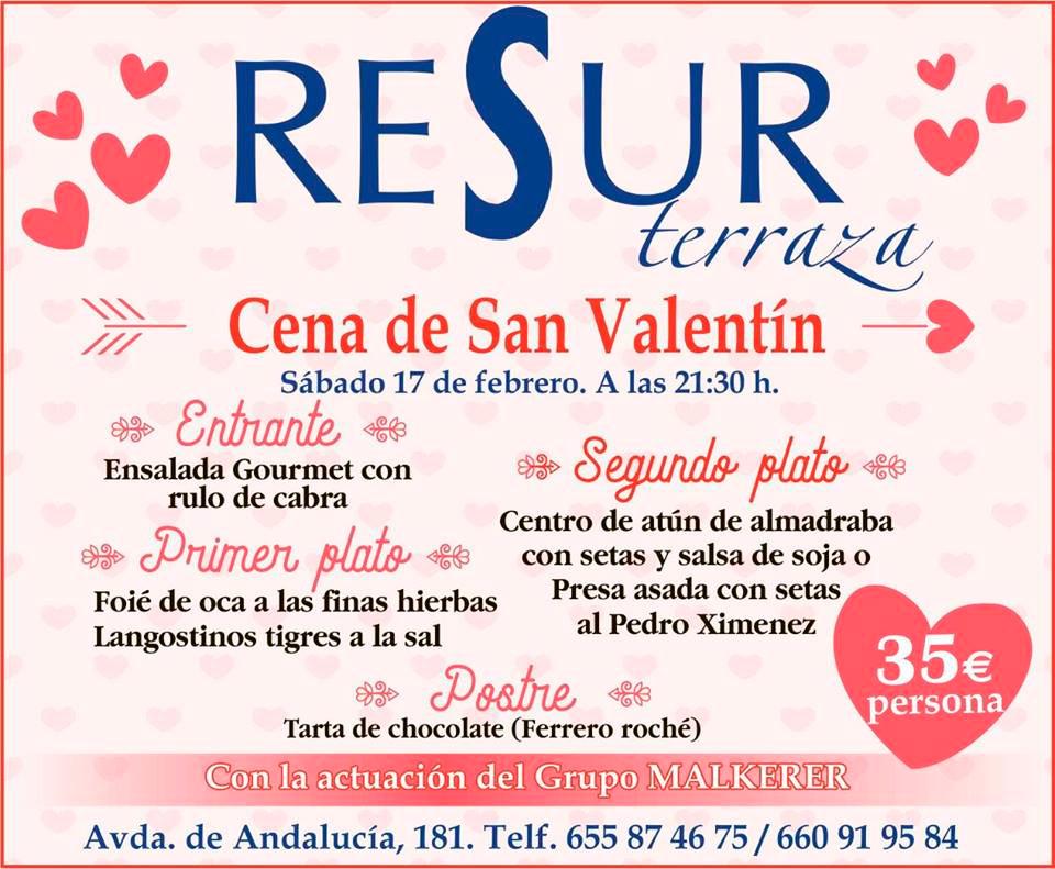 Cena de San Valentín en Resur Terraza