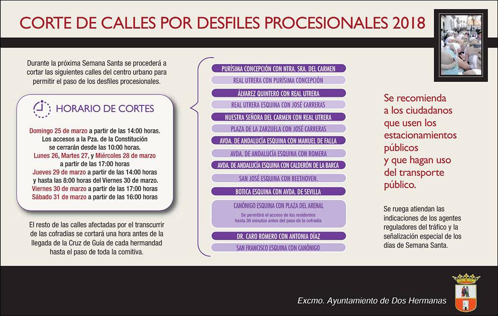 Cortes de calles Semana Santa Dos Hermanas 2018