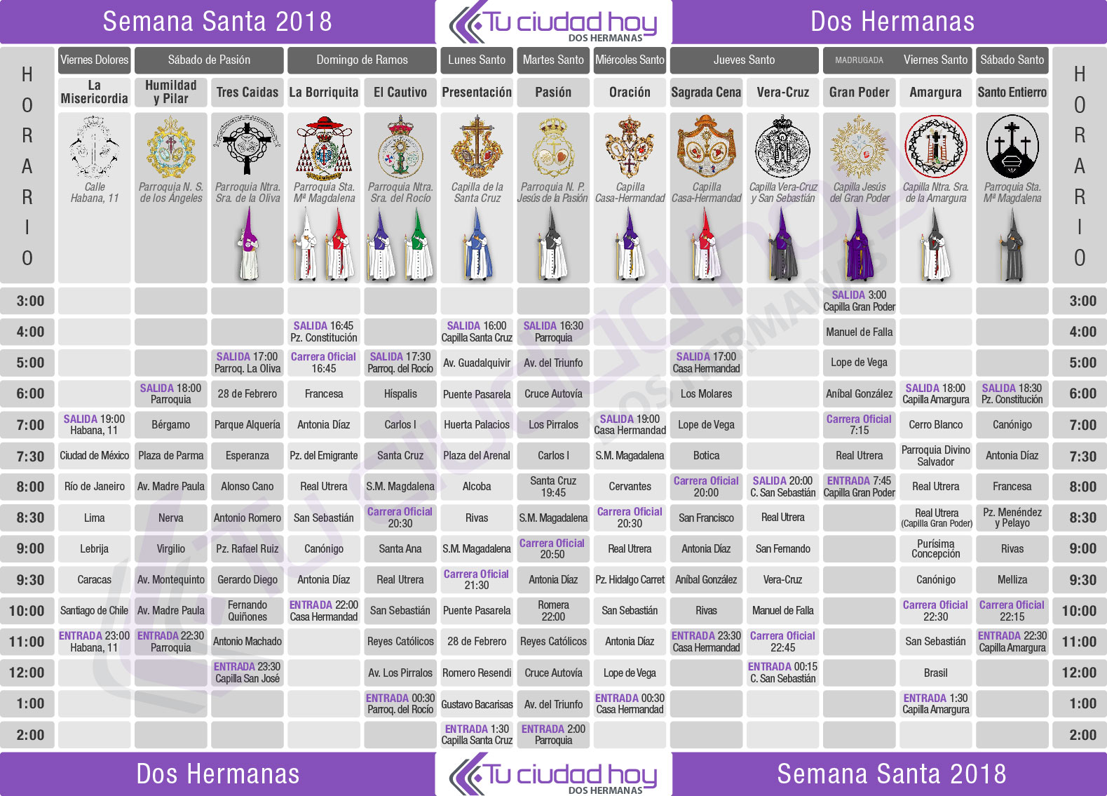 Cuadrante Semana Santa Dos-Hermanas 2018