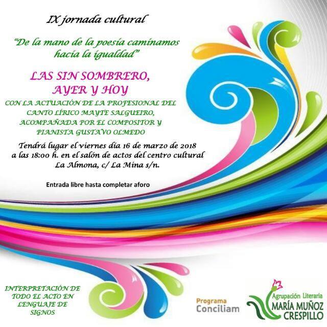 """IX Jornada cultural """"De la mano de la poesía caminamos hacia la igualdad"""""""