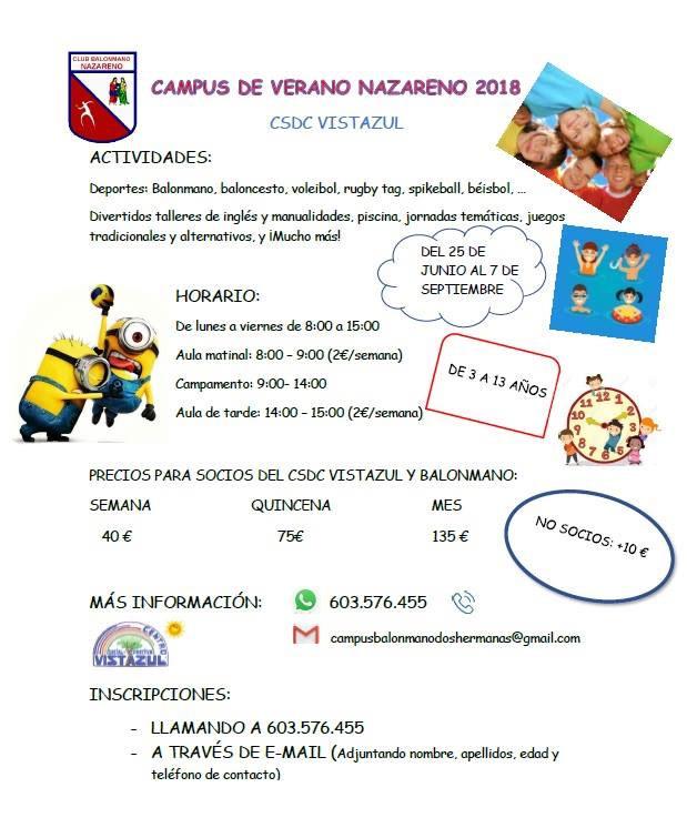 Campus de de Verano Nazareno 2018 en el CSD Vistazul