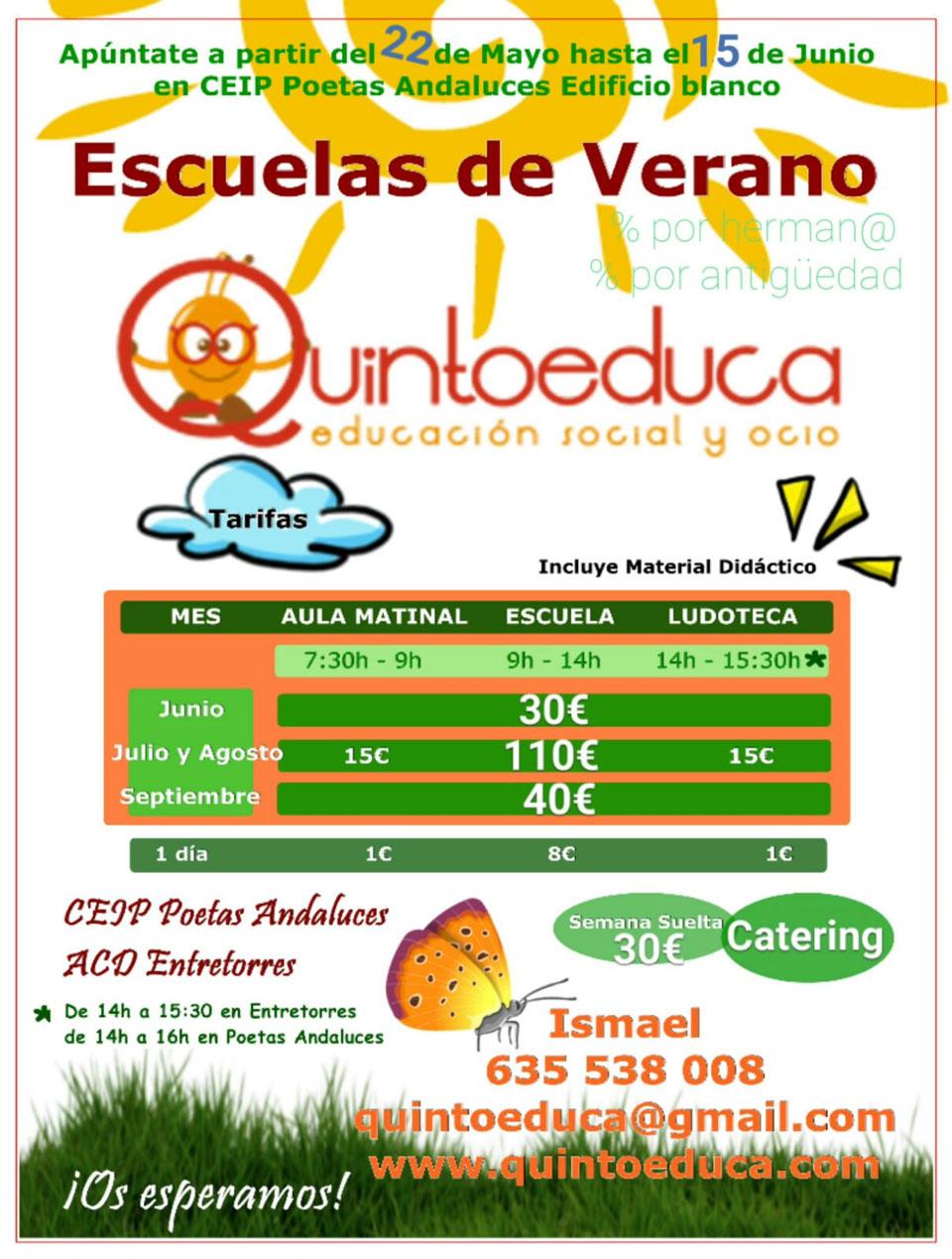 Escuelas de Verano Quintoeduca CEIP Poetas Andaluces