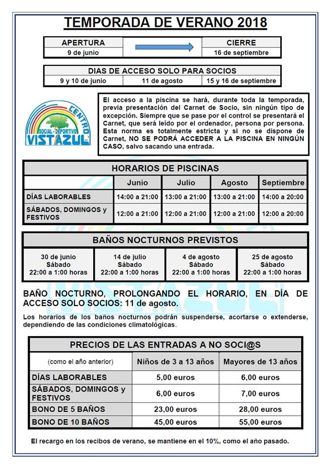 Temporada de verano 2018 - CSD Vistazul