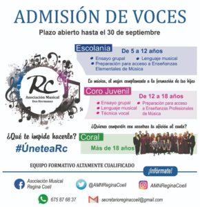 Admisión de voces de la Asociación Musical Regina Coeli 2018