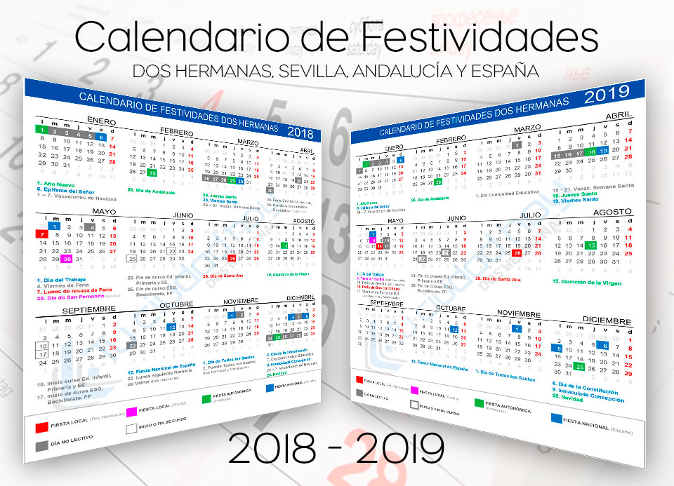 Calendario Laboral Construccion 2020.Calendario Laboral Y Dias No Lectivos De Dos Hermanas 2018 2019 En