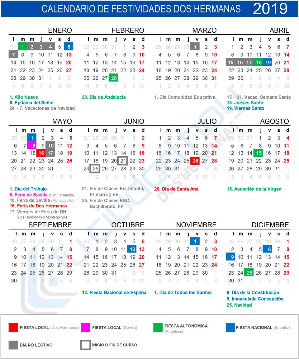 Calendario de festividades y días no lectivos de Dos Hermanas 2019