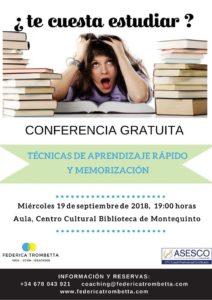 """Conferencia """"Técnicas de aprendizaje rápido y memorización"""" en la Biblioteca de Montequinto"""