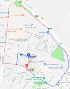Mapa del recorrido del Dia de la Bicicleta de Montequinto 2018