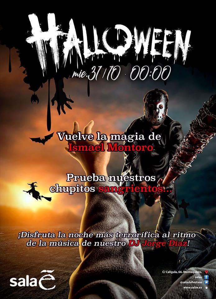 Cartel de Halloween en Sala E en Montequinto Dos Hermanas