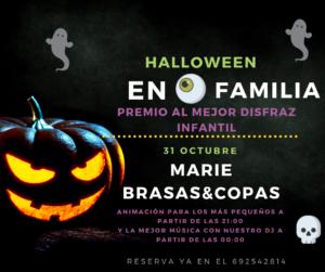 Cartel Marie Copas para Halloween con fiesta infantil y el mejor ambiente nocturno en Dos Hermanas
