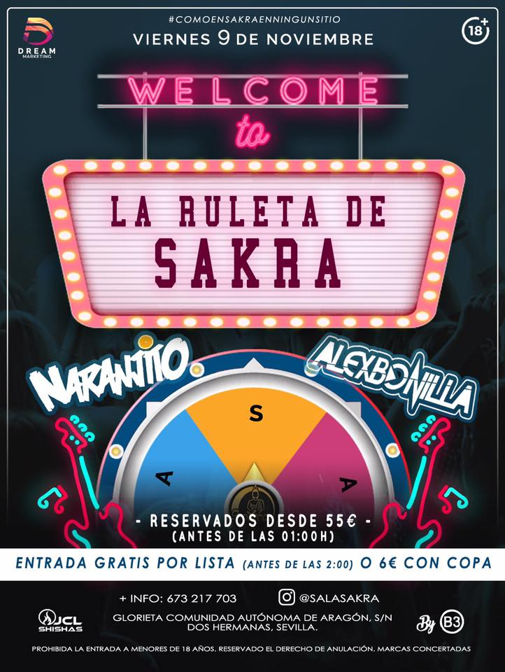 Welcome to La Ruleta de Sakra en Sala Sakra Dos Hermanas