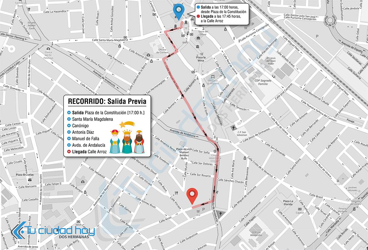 Recorrido Salida Previa Cabalgata de Reyes Dos Hermanas 2019