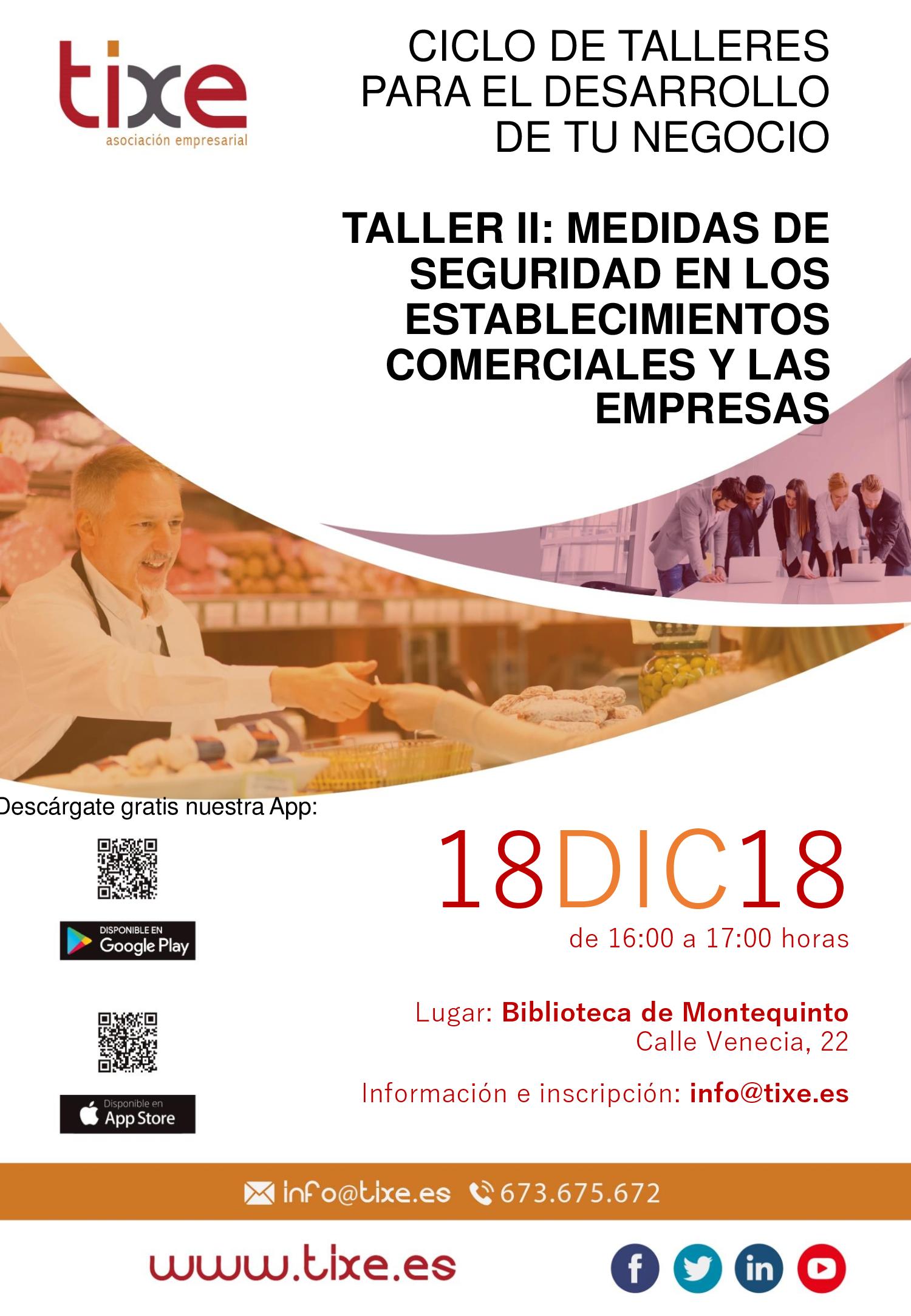 Cartel Taller II de Tixe: Medidas de Seguridad en los establecimientos comerciales y las empresas