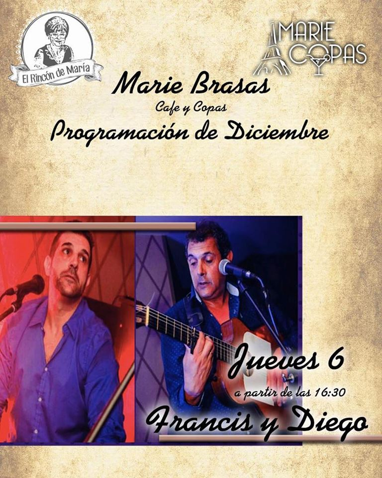 Actuación en directo del grupo Francis y Diego en Marie Brasas & Copas