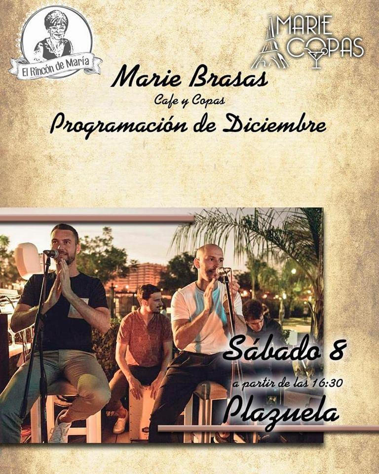 Actuación en directo del grupo La Plazuela en Marie Brasas & Copas