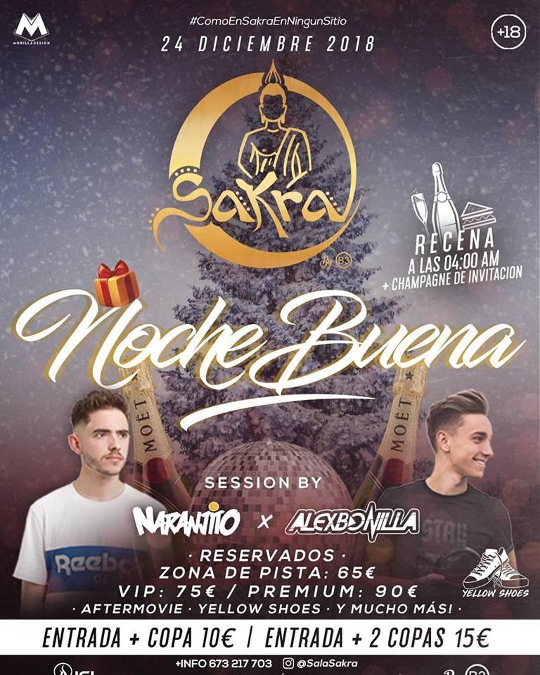 Nochebuena en Sala Sakra el lunes 24 de diciembre