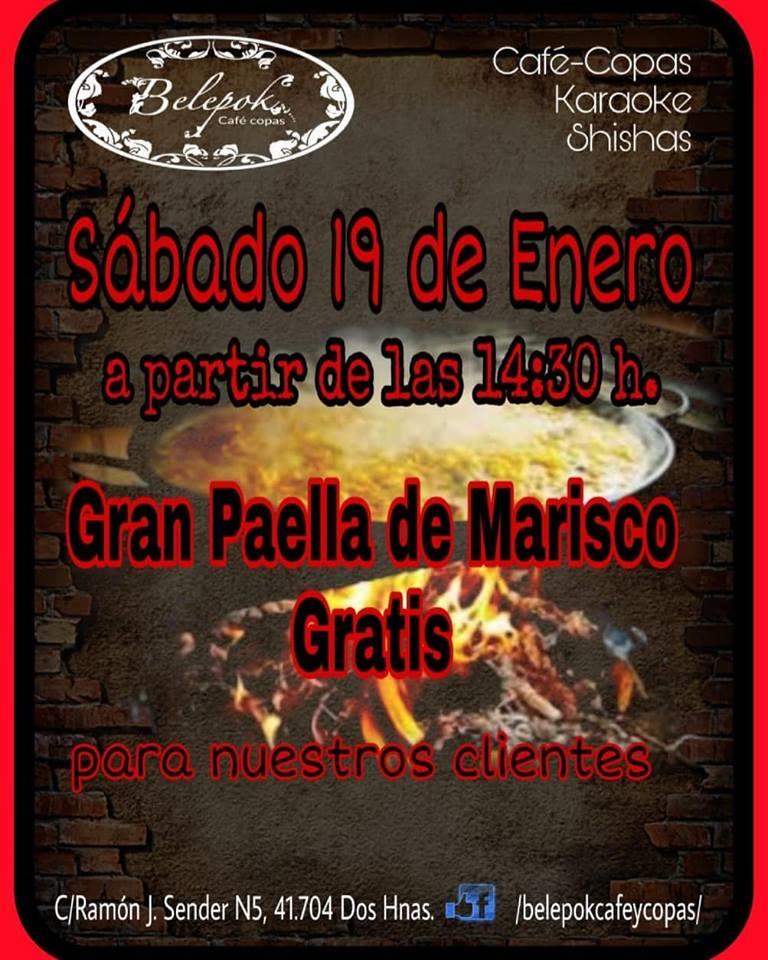 Gran Paella de Maricos Gratuita en Belepok Café