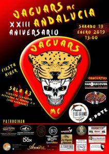Cartel del XXIII Aniversario de JaguarsMC Andalucía en B3 Sevilla