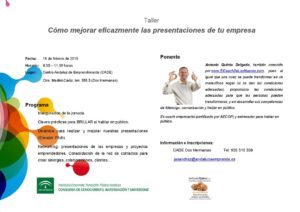 Taller impartido por Antonio Quirós sobre como mejorar eficazmente las presentaciones de tu empresa