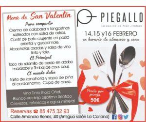 Menú de San Valentín en Piegallo restaurante