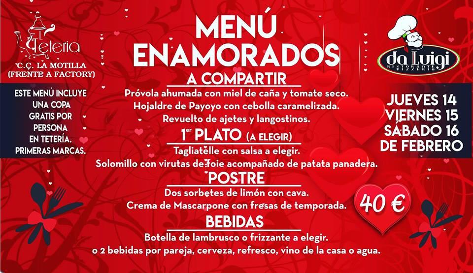 San Valentín en Da Luigi y La Tetería Menú