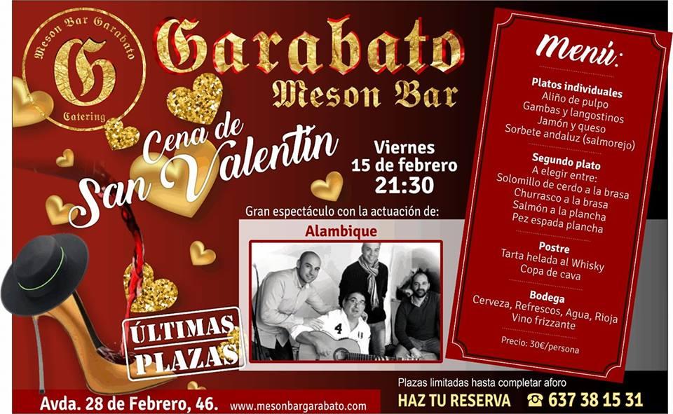 San Valentín en Garabato Mesón Bar Menú