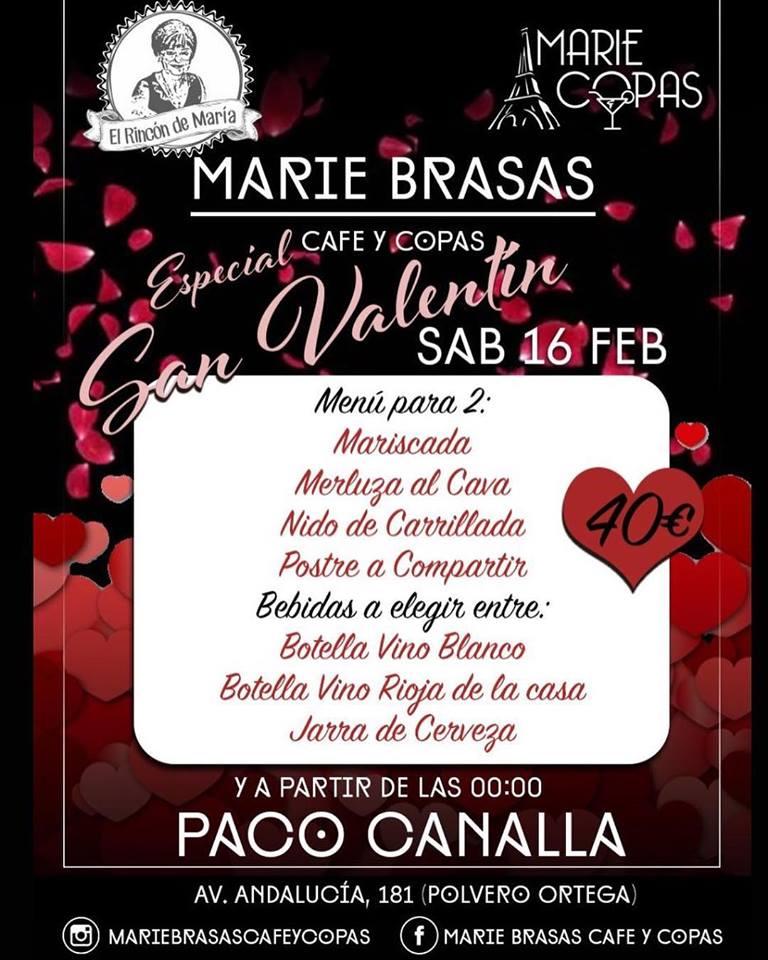 San Valentín en Marie Brasas Menú