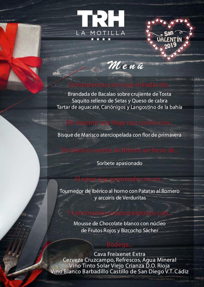 TRH Hoteles San Valentín Menú