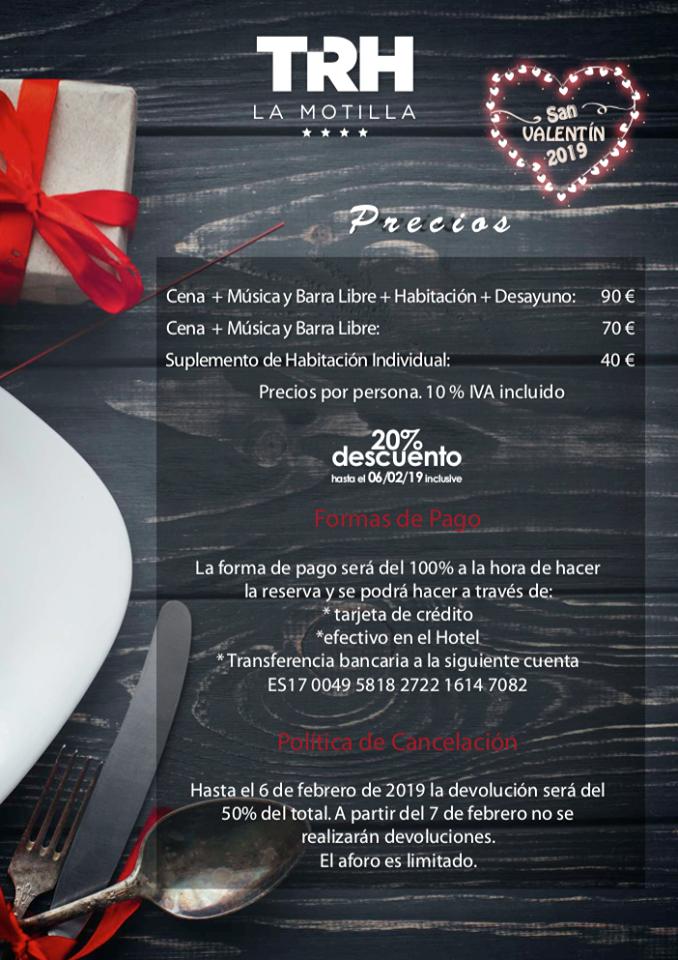 TRH Hoteles San Valentín Precios de la cena