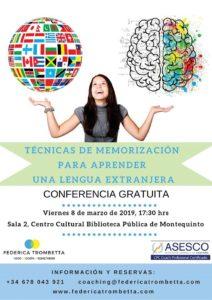 Conferencia: Técnicas de Memorización para aprender una lengua extranjera impartido por Federica Trombetta en la Biblioteca de Montequinto